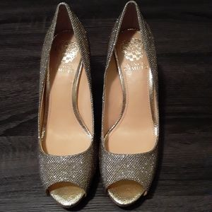 Vince Camuto Gold Sparkly Open Toe Heels